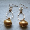 Sun Drop earring with gold vermeil bead