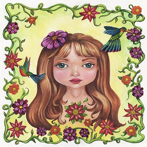 Young girl with hummingbirds framed by flowers and vines