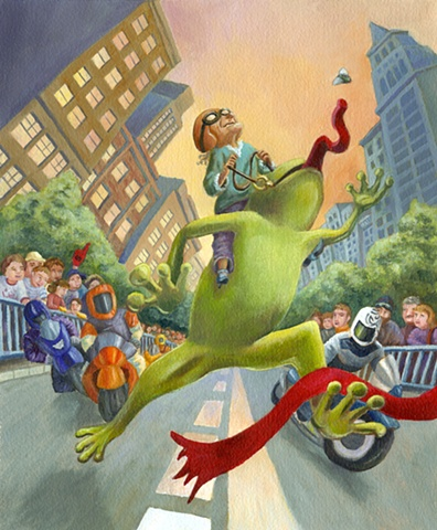 The motorcycles were fast, but no one could beat the ravenous frog.