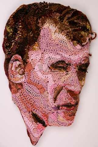 Crochet art portrait of a man brother father son crochet fiber art by Pat Ahern