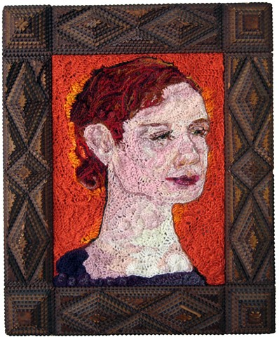 Crochet art portrait of a woman daughter sister wife crochet fiber art by Pat Ahern.