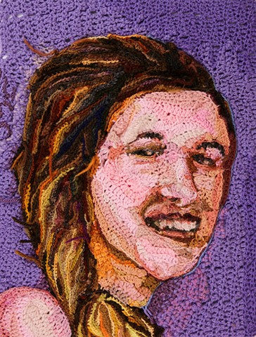 Crochet art portrait of a woman sister daughter crochet fiber art by Pat Ahern