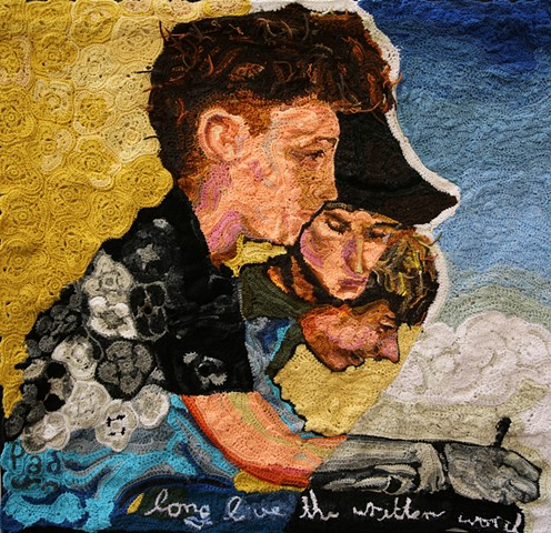 Crochet art portrait of a boy and man Dan Eldon reading writing making art crochet fiber art by Pat Ahern.