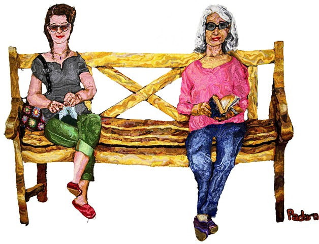 Crochet art of women sitting on a bench, crocheting and reading crochet fiber art by Pat Ahern.
