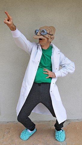Professor Farnsworth Futurama crochet halloween costume yarn fiber art by Pat Ahern.