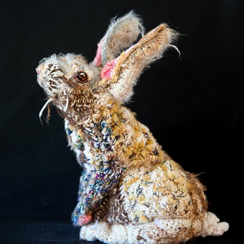 Bunny rabbit toilet paper cozy crochet yarn art by Pat Ahern.