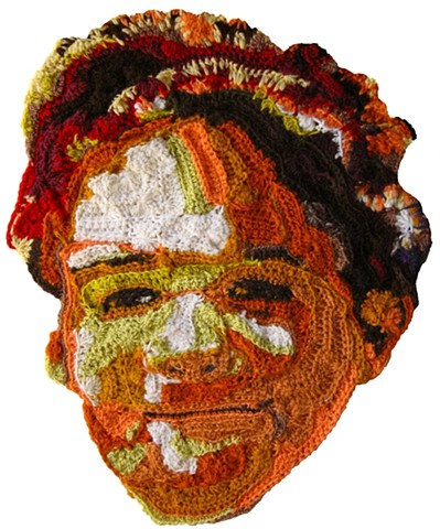 Crochet art portrait of a boy brother son crochet fiber art by Pat Ahern