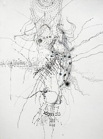 Charissa Baker abstract line drawing acrylic graphite charcoal conte