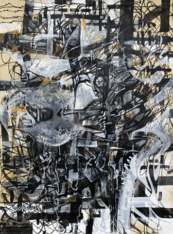 Charissa Baker Abstract acrylic charcoal conte
