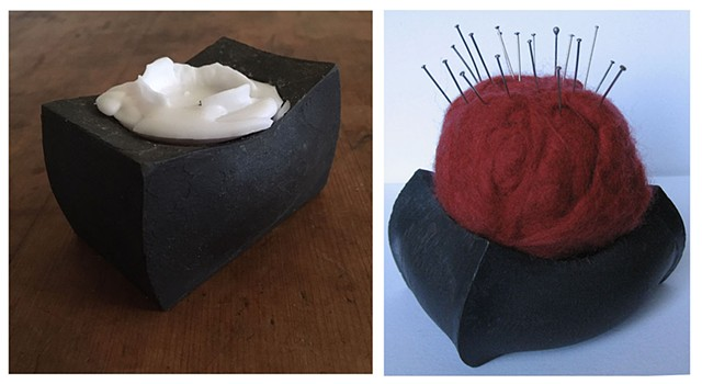 candle holder, pin cushion