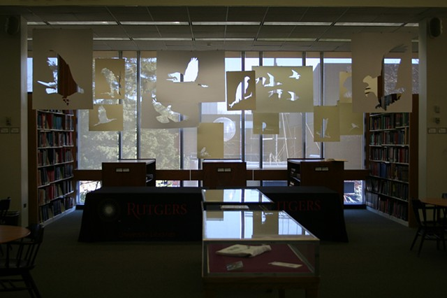 Paper installation in Douglas Library at Rutgers The State University