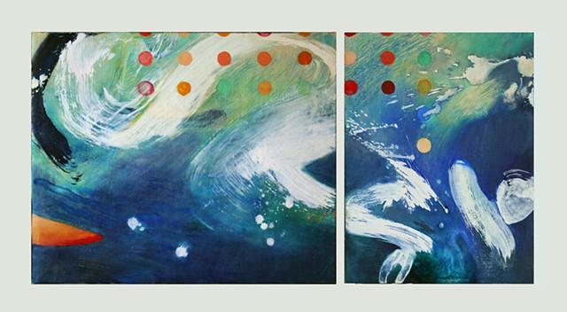 Blue gestural abstraction of water splash by Jess Beyler