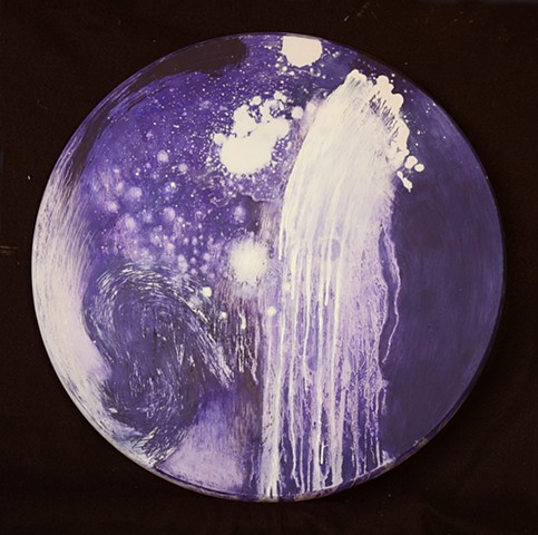 white on blue purple circular oil painting