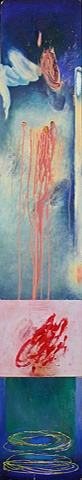 blue abstract painting with red marks by Jess Beyler