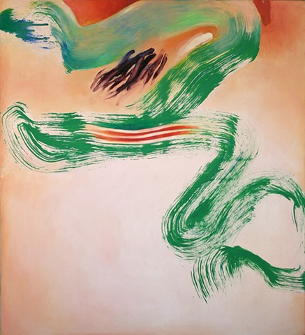 abstract,  gestural green mark