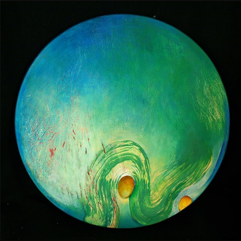 blue green circular oil painting on panel