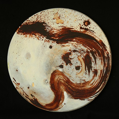 brown near-enso on white ground , oil on wooden panel