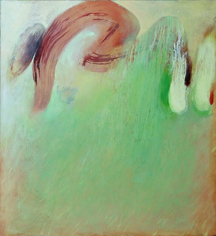 spring green gestural abstraction by Jess Beyler