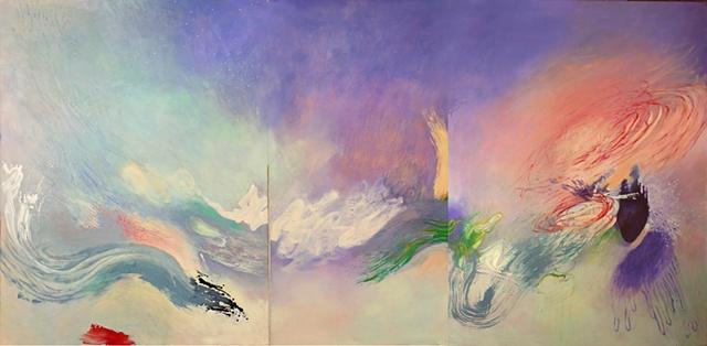 gestural abstraction, ocean, red whirlwind, dark heart by Jess Beyler