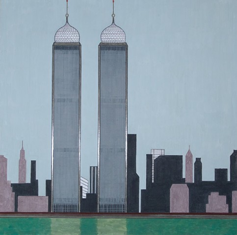 yves tessier painting, twin towers, qubbas, wtc, dome, architecture