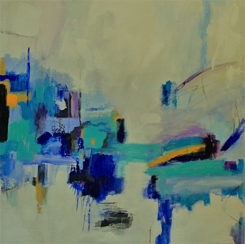 Abstract Acrylic Santa Barbara Blues