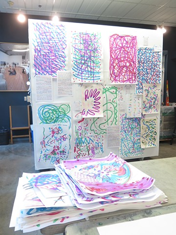 installation with work from BFF draw-a-thon, Kamloops Art Gallery (Canada)