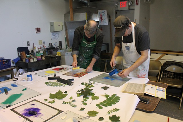 Leaf printing workshop at Barrett Art Center, Poughkeepsie, NY