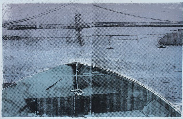 photoscreenprint of rowing on the Hudson River at Poughkeepsie, NY