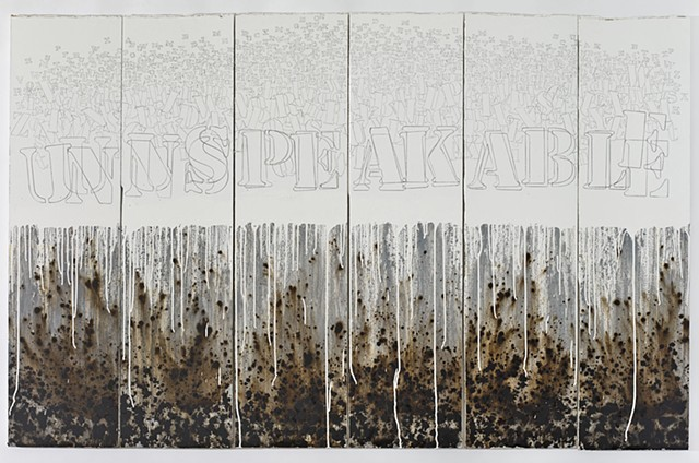 Unspeakable, 2015. Acrylic and graphite on drywall.