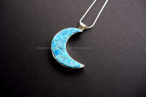 One of a Kind Turquoise Mosaic Crescent Moon