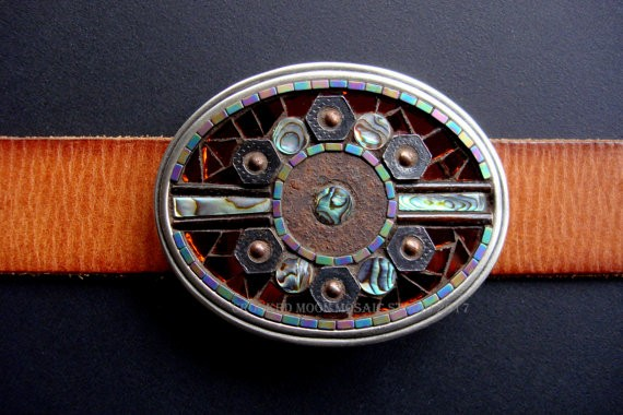 One of a Kind Mosaic Belt buckle in Rust and Abalone