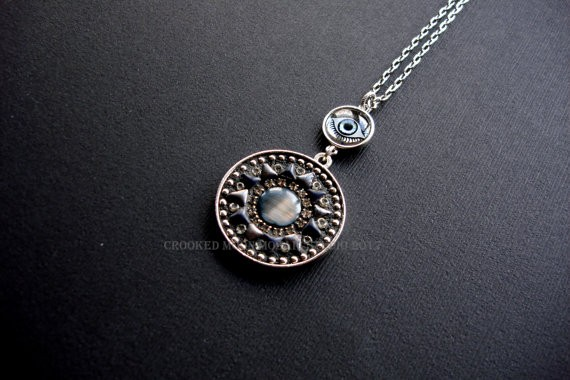 One of a Kind Mosaic Eye Pendant in Metallic Gray