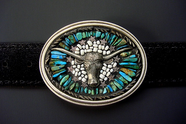 Sterling Longhorn and Turquoise One of a Kind Belt Buckle