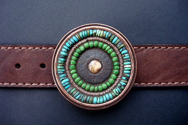 One of a kind belt buckle with turquoise and jasper.