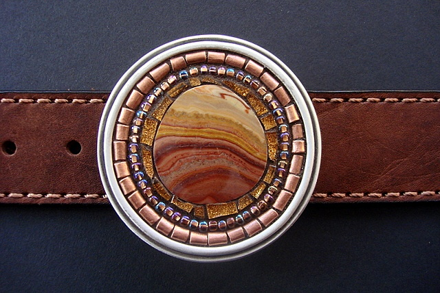 One of a kind belt buckle with dolomite, glass,copper.