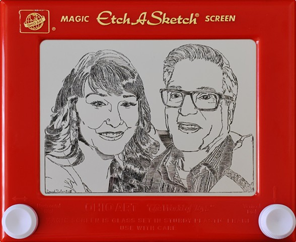 Heidi and Mike Etch A Sketch Portrait