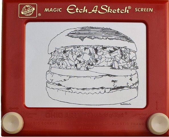 All-American Veggie Burger Red Robin Etch A Sketch Art by David Roberts