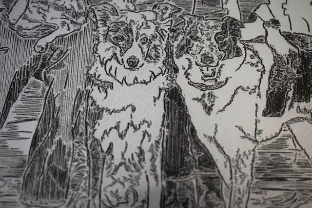Etch A Sketch Family Portrait- Dogs (Detail)
