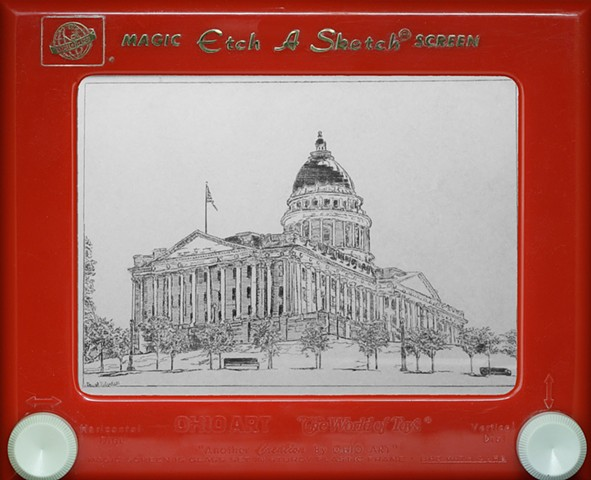 Utah State Capitol Hill Etch A Sketch Art by David Roberts