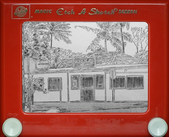 Hukilau Cafe Hawaii Laie Etch A Sketch Art by David Roberts