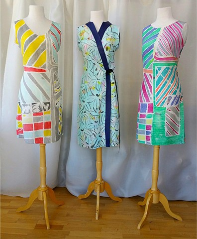 THREE MUSES HANDPAINTED SILK SHANTUNG