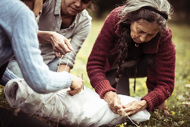 Preparing fabric for dyeing with native plants - Image Credit: Pippa Samaya