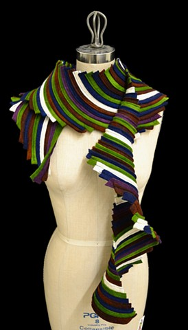 Green, Brown, White, Blue, & Purple Spiral Scarf