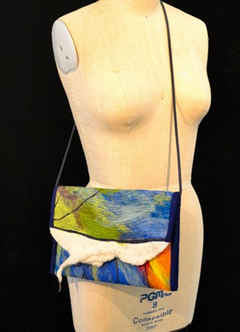 Taylor Painter-Wolfe, fiber art, craft, fine art, wool, felt, dyeing, handmade, hand dyed, aerial, Tulsa, Urban Art Lab Studios, wearable, textiles