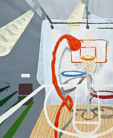 """Hoops"" by Ian Sonsyadek, Oil and acrylic on panel"