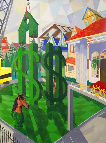 """Big Money"" by Ian Sonsyadek, Acrylic and paper on paper"