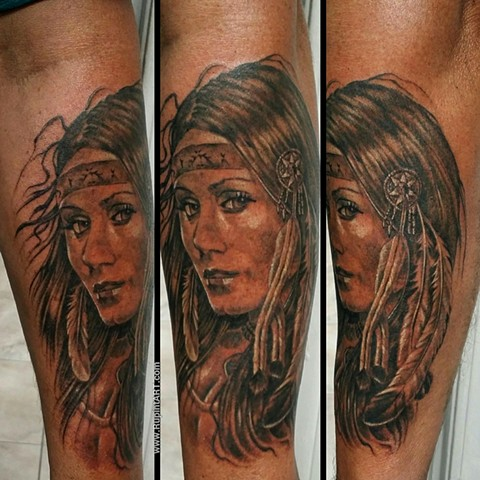 american indian girl tattoo. realistic tattoo. portrait tattoo