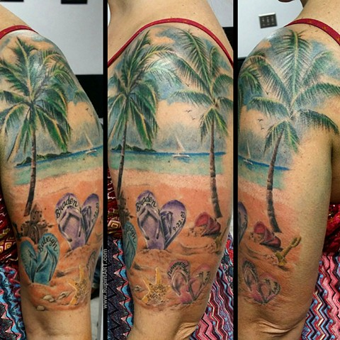 beach tattoo. sandals tattoo palm tree tattoo. realistic tattoo. family tattoo
