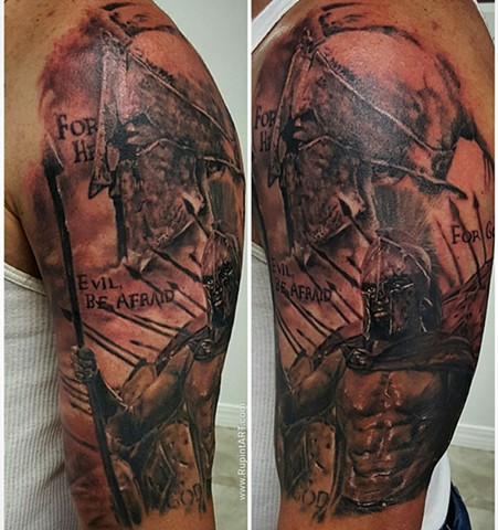 300 tattoo. trojan warrior roman soldiers. realistic tattoo