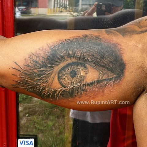 eye tattoo black and gray realistic tattoo by P